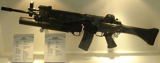 Daewoo K2 c 40-мм подствольным гранатометом K201