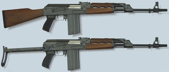 Автомат Zastava M77 B1 (сверху) M77 AB1 (снизу)