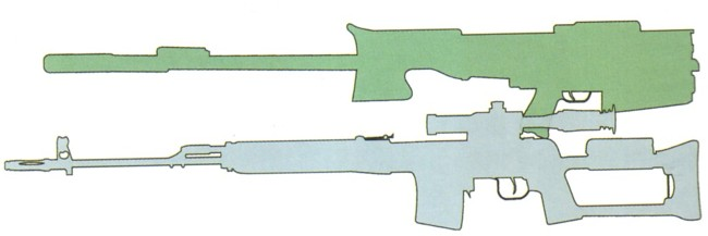 ОСВ-96 в сложенном виде в сравнении с 7.62мм винтовкой СВД