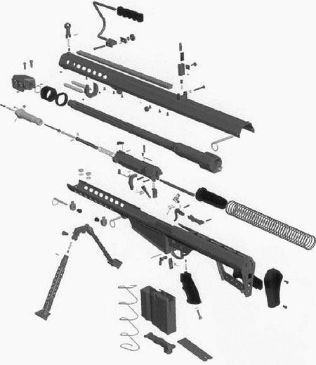 Barrett M82A1 основные части и механизмы